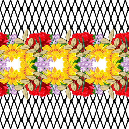 Seamless pattern with red roses and yellow garden flowers on intersecting striped background. Flower background for textile, cover, wallpaper, gift packaging, printing.Romantic design for calico, silk. Horizontal border.