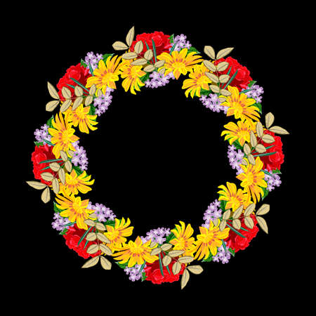 Vintage floral wreath with cute red and yellow garden flowers. Template for greeting cards, invitations, weddings, Valentine's Day, birthdays. Isolated on black background. Round floral composition. 矢量图像