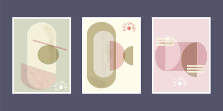Set of artistic creative universal cards. Hand drawn texture. Design for poster, postcards, invitations, brochures, leaflets. Pastel geometric pattern. Vector.