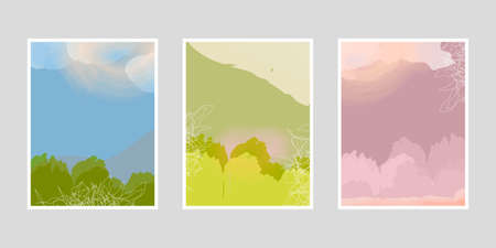 Set of artistic creative posters with seasonal landscape. Hand drawn texture with watercolor effect. Design for poster, postcards, invitations, brochures, leaflets. Vector.