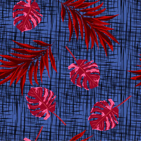 Seamless pattern with red tropical leaves on dark blue background. Design for cloth, wallpaper, gift wrapping. Print for silk, calico and home textiles.Vintage natural pattern