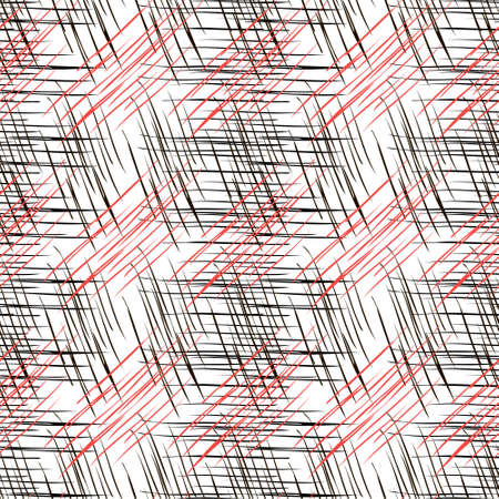 Geometric seamless pattern in red, black and white color with effect of burlap, fabric, flax. For printing on covers, fabrics, packaging, wallpaper, textiles.