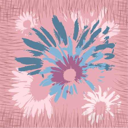 Square flower arrangement.Abstract pink and blue flowers hand drawn with brush strokes. Pattern for printing on scarves, postcards, carpets, bandanas, napkins, home textiles. Vector. 矢量图像
