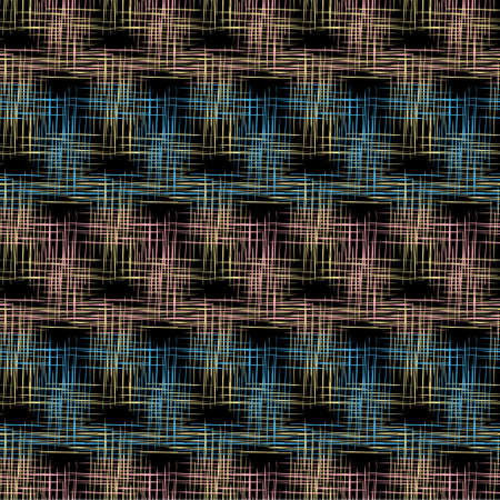 Geometric seamless pattern in in blue, black, pink and yellow color with effect of burlap, fabric, flax. For printing on covers, fabrics, packaging, wallpaper, textiles.