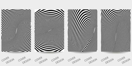Black and white minimal geometric backgrounds set.Striped geometric pattern with visual distortion effect. For printing on covers, banners, sales, flyers. Modern design. Vector.