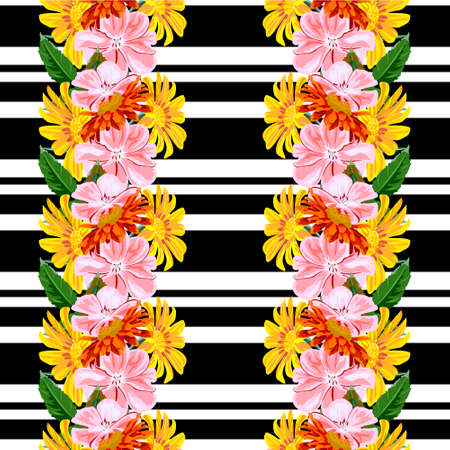 Seamless pattern with with pink, red and yellow garden flowers on striped background. Flower background for textile, cover, wallpaper, gift packaging, printing.Romantic design for calico, silk. Vertical border.