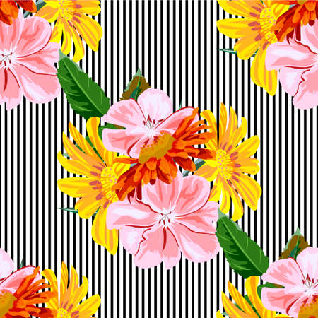 Seamless pattern with with pink, red and yellow garden flowers on striped background. Flower background for textile, cover, wallpaper, gift packaging, printing.Romantic design for calico, silk 矢量图像