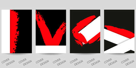 Abstract minimal geometric backgrounds set.Red and black geometric pattern with with brush strokes and paper cut layers. For printing on covers, banners, sales, flyers. Modern design. Vector. 矢量图像