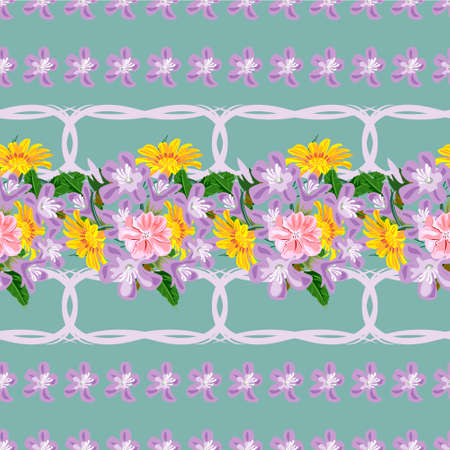 Seamless pattern with floral print. Yellow, pink, lilac garden flowers on emerald background. Design for fabrics, covers, wallpapers, packaging.Horizontal border. 矢量图像