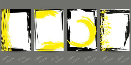 Abstract minimal geometric backgrounds set.Yellow and black geometric pattern with brush strokes on white background. For printing on covers, banners, sales, flyers. Modern design. Vector.