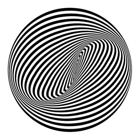 Abstract black and white striped round object. Geometric pattern with visual distortion effect. Optical illusion. Op art. Isolated on white background.