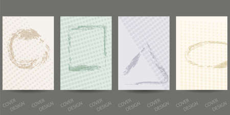 Abstract minimal geometric backgrounds set.Pastel colors geometric pattern with brush strokes and halfton effect. For printing on covers, banners, sales, flyers. Modern design. Vector.