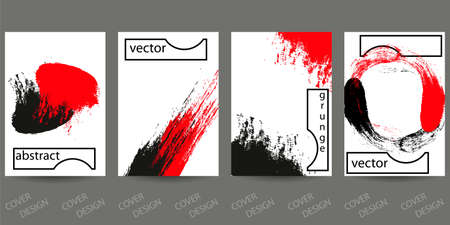 Abstract minimal geometric backgrounds set.Red and black geometric pattern with brush strokes on white background. For printing on covers, banners, sales, flyers. Modern design. Vector.