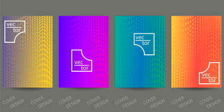 Abstract minimal geometric backgrounds set.Colorful geometric pattern with halfton effect. For printing on covers, banners, sales, flyers. Modern design. Vector. EPS10