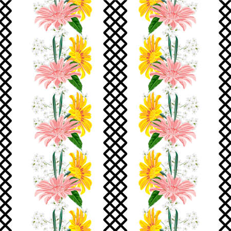 Seamless pattern with floral print. Pink and yellow garden flowers on whit background. Design for fabric, wallpaper, gift wrapping, home textiles.