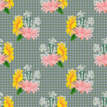 Seamless pattern with floral print. Cute garden flowers on polka dot background. Design for fabric, wallpaper, gift wrapping, home textiles. 矢量图像