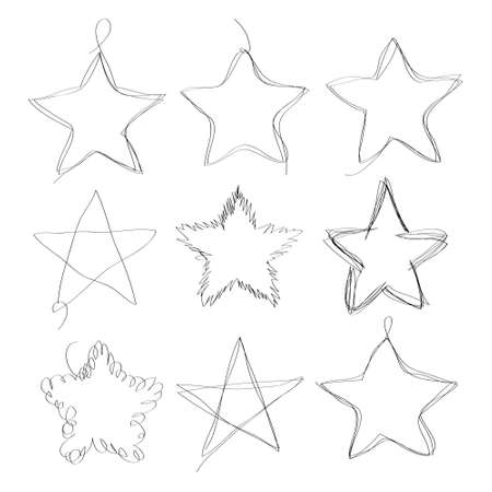 Set of hand drawn scribble stars. Collection of abstract frames in doddles style. Design element in the shape of star. Continuous line. Vector. Isolated on white background.