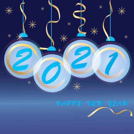 2021 New Year. Abstract holiday background. Blue and gold Christmas balls, snowflakes and serpentine on dark blue background. Template for postcards, posters, invitations, publications.