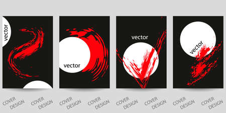 Abstract minimal geometric backgrounds set.Red and white geometric pattern with brush strokes on black background. For flyers. Modern design. Vector. printing on covers, banners, sales, EPS10 矢量图像