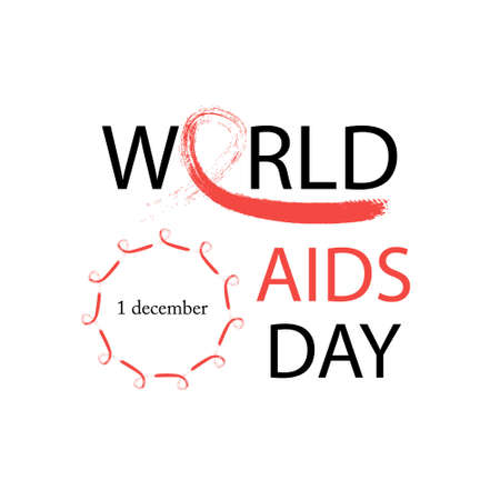 World AIDS Day.Design template with text and hand drawn red ribbon