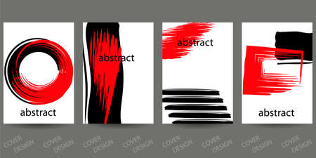 Abstract minimal geometric backgrounds set.Red and black geometric pattern with brush strokes on white background. For printing on covers, banners, sales, flyers. Modern design. Vector. EPS10 矢量图像