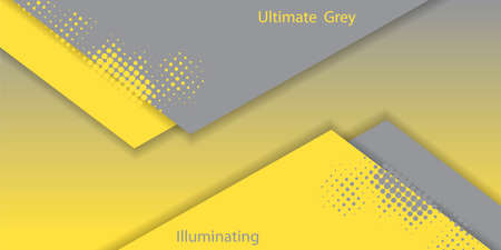 Ultimate Gray and Illuminating - color of the Year 2021. Trendy vector illustration for flyers, posters, presentations, invitations, covers. Abstract yellow and gray backgrounds with paper cut layers.
