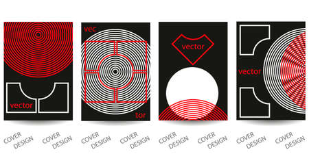 Abstract minimal geometric backgrounds set. Black, white and red geometric pattern. For printing on covers, banners, sales, flyers. Modern design. Vector. EPS10 矢量图像