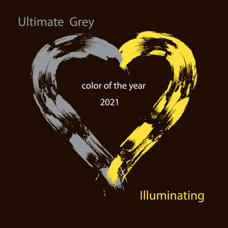 Ultimate Gray and Illuminating - color of the Year 2021. Heart painted with brush strokes. Trendy vector illustration for flyers, posters, presentations, invitations, covers. Isolated on black background.