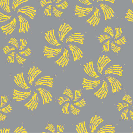 Hand-drawn seamless pattern with floral print. Abstract yellow flowers painted by brush on gray background. Vector pattern for printing on fabric, gift wrapping, covers, wallpapers, home textiles.