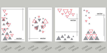 Abstract minimal geometric backgrounds set. Gray and red triangles on white background. For printing on covers, banners, sales, flyers. Modern design. Vector. EPS10 矢量图像