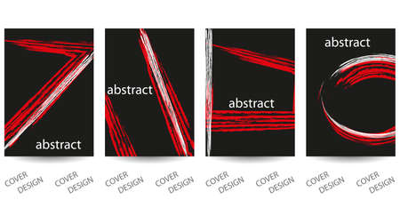 Abstract minimal geometric backgrounds set.Red and white geometric pattern with brush strokes on black background. For printing on covers, banners, sales, flyers. Modern design. Vector. EPS10