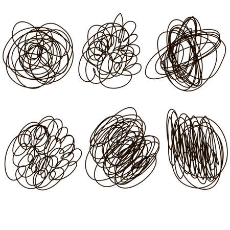 Set of hand drawn scribble shapes. Chaotic twisted lines in circular objects in duddles style. Continuous line.Vector.Isolated on white background.