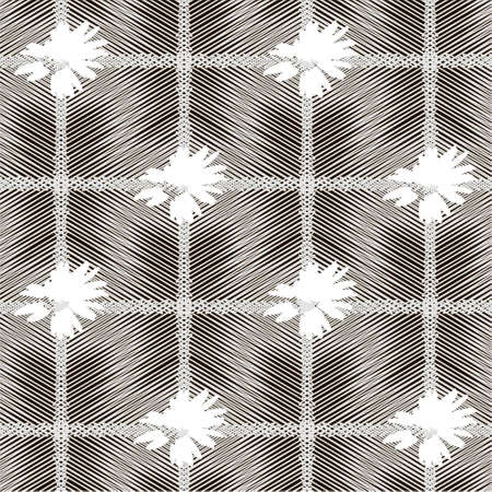 Geometric seamless pattern in gray and black color with mesh effect of intersecting thin lines and white daisies. For printing on covers, fabrics, packaging, wallpaper, textiles. 免版税图像 - 161794982
