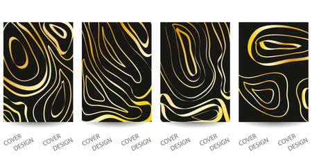 Abstract minimal geometric backgrounds set. Black and gold geometric pattern with art texture from different wavy lines. For printing on covers, banners, sales, flyers. Modern design. Vector. EPS10