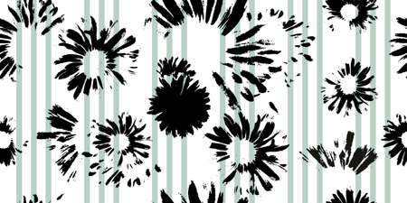 Hand-drawn seamless pattern with floral print. Abstract black daisies on on white with light green stripes background. Vector pattern for printing on fabric, gift wrapping, covers, wallpapers.