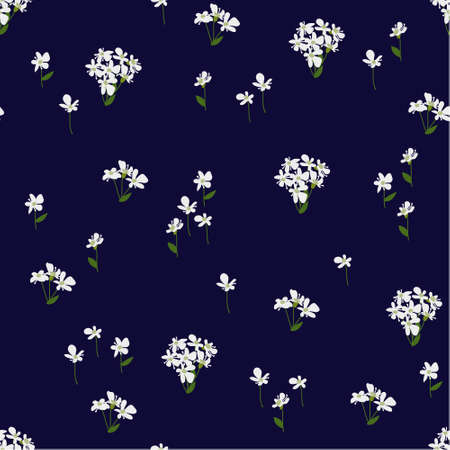 Seamless floral pattern painted by hand. Cute simple white flowers on dark blue. Floral vintage for textile, cover, wallpaper, gift packaging, printing, scrapbooking.