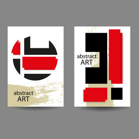 Abstract minimal geometric backgrounds set.Red and black geometric pattern with paper cut effect on white background. For printing on covers, banners, sales, flyers. Modern design. Vector. EPS10 免版税图像 - 162663310