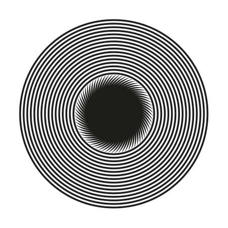 Abstract black and white striped round object. Geometric pattern with visual distortion effect. Optical illusion. Op art. Isolated on white background. 免版税图像 - 163134228