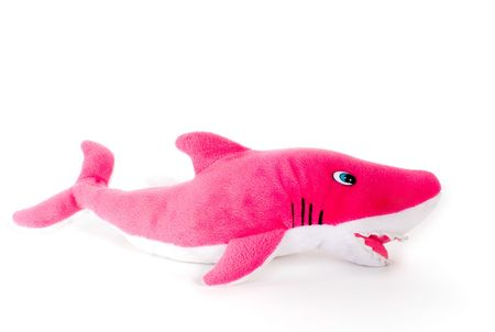 fish toy: colore giocattolo pesce rosso su sfondo bianco