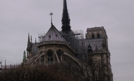 Dome of the Cathedral of Notre Dame (Paris, France) in maintenance work