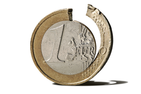 Curbed 1 euro coin Isolated - crisis in the European Union
