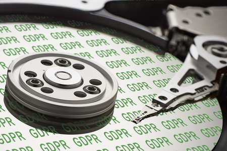 GDPR hard disk - General Data Protection Regulation - On the hard disk is written several times GDPR in green letters Stok Fotoğraf