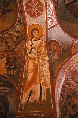 fresco: Fresco in Cave City of Early Christian, Turkey Stock Photo