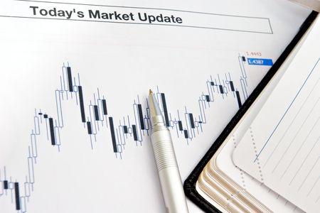 ローソク足による外国為替と今日分析市場の更新 写真素材