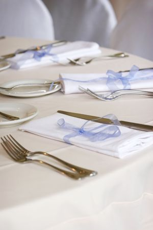 Table set for fine dining or a wedding banquet or social event