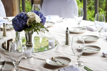 Table set for fine dining or a wedding banquet or social event photo