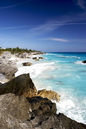 Rocky coast line with a very blue sky