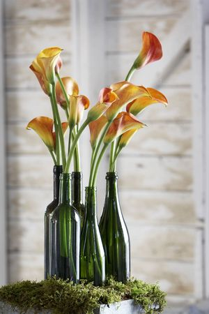 caterer: beautiful flowers in old fashion green bottles on moss. The are decorations for a wedding Stock Photo