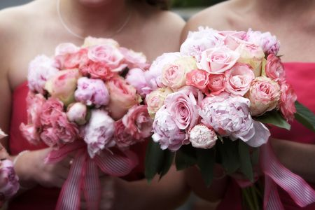 Bridal wedding bouquets of flowers, with a blurred effect on the backgrounf flowers, and fucus on the flowers on the right