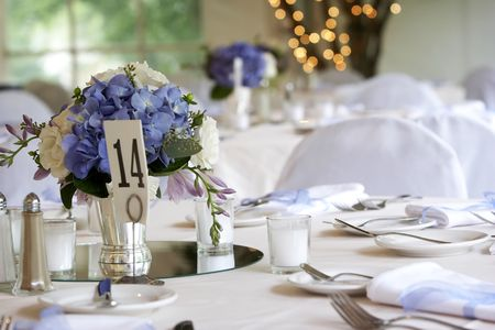 caterer: table setting for a wedding or dinner event Stock Photo